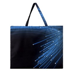 Abstract Light Rays Stripes Lines Black Blue Zipper Large Tote Bag by Alisyart