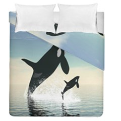 Whale Mum Baby Jump Duvet Cover Double Side (queen Size) by Alisyart