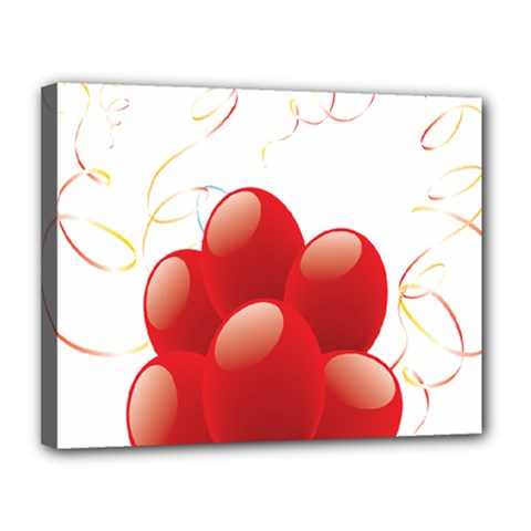 Balloon Partty Red Canvas 14  X 11  by Alisyart