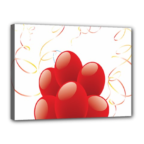 Balloon Partty Red Canvas 16  X 12  by Alisyart