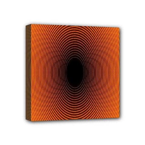 Abstract Circle Hole Black Orange Line Mini Canvas 4  X 4  by Alisyart