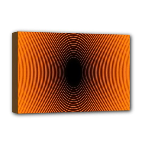 Abstract Circle Hole Black Orange Line Deluxe Canvas 18  X 12   by Alisyart