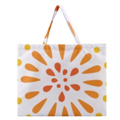 Circle Orange Zipper Large Tote Bag by Alisyart