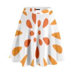 Circle Orange High Waist Skirt by Alisyart