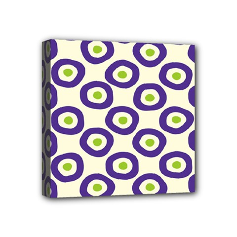 Circle Purple Green White Mini Canvas 4  X 4
