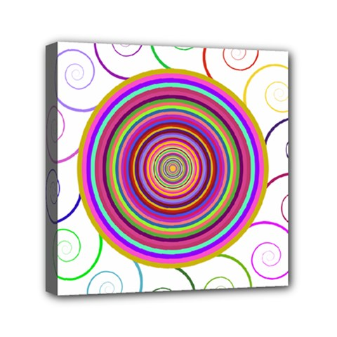 Abstract Spiral Circle Rainbow Color Mini Canvas 6  X 6  by Alisyart