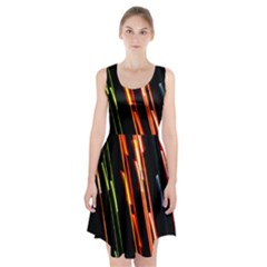 Colorful Diagonal Lights Lines Racerback Midi Dress
