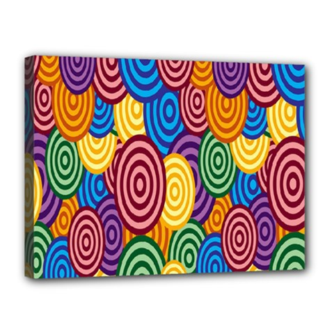 Circles Color Yellow Purple Blu Pink Orange Illusion Canvas 16  X 12  by Alisyart