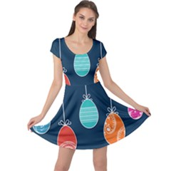 Easter Egg Balloon Pink Blue Red Orange Cap Sleeve Dresses
