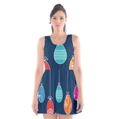 Easter Egg Balloon Pink Blue Red Orange Scoop Neck Skater Dress by Alisyart