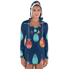 Easter Egg Balloon Pink Blue Red Orange Women s Long Sleeve Hooded T Shirt by Alisyart