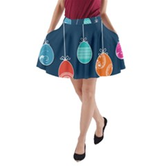 Easter Egg Balloon Pink Blue Red Orange A Line Pocket Skirt by Alisyart