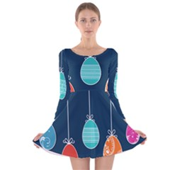 Easter Egg Balloon Pink Blue Red Orange Long Sleeve Velvet Skater Dress by Alisyart