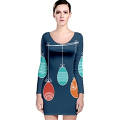 Easter Egg Balloon Pink Blue Red Orange Long Sleeve Velvet Bodycon Dress by Alisyart