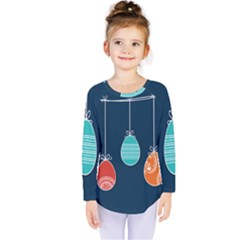 Easter Egg Balloon Pink Blue Red Orange Kids  Long Sleeve Tee by Alisyart