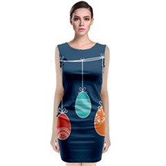 Easter Egg Balloon Pink Blue Red Orange Sleeveless Velvet Midi Dress by Alisyart