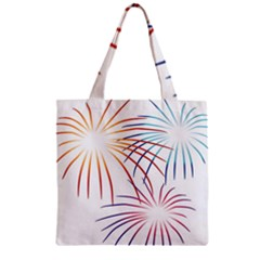 Fireworks Orange Blue Red Pink Purple Zipper Grocery Tote Bag by Alisyart