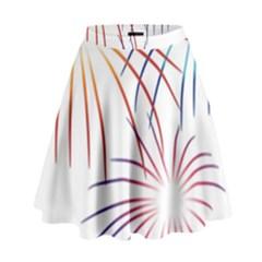 Fireworks Orange Blue Red Pink Purple High Waist Skirt by Alisyart