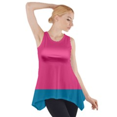 Flag Color Pink Blue Side Drop Tank Tunic by Alisyart