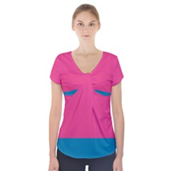 Flag Color Pink Blue Short Sleeve Front Detail Top by Alisyart