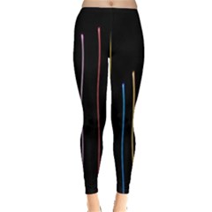 Falling Light Lines Color Pink Blue Yellow Leggings  by Alisyart
