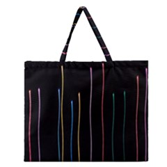 Falling Light Lines Color Pink Blue Yellow Zipper Large Tote Bag by Alisyart
