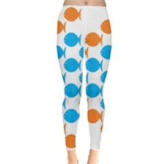 Fish Arrow Orange Blue Leggings  by Alisyart