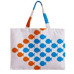 Fish Arrow Orange Blue Mini Tote Bag by Alisyart