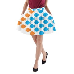 Fish Arrow Orange Blue A Line Pocket Skirt by Alisyart