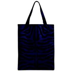 Skin2 Black Marble & Blue Leather Zipper Classic Tote Bag by trendistuff