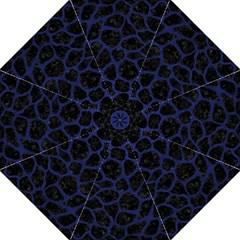 Skin1 Black Marble & Blue Leather (r) Golf Umbrella by trendistuff