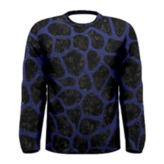 Skin1 Black Marble & Blue Leather (r) Men s Long Sleeve Tee by trendistuff