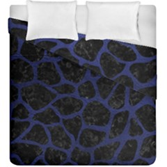 Skin1 Black Marble & Blue Leather (r) Duvet Cover Double Side (king Size) by trendistuff