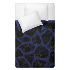 Skin1 Black Marble & Blue Leather (r) Duvet Cover Double Side (single Size) by trendistuff