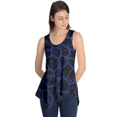 Skin1 Black Marble & Blue Leather (r) Sleeveless Tunic by trendistuff