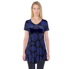 Skin1 Black Marble & Blue Leather Short Sleeve Tunic  by trendistuff