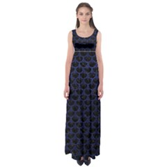 Scales3 Black Marble & Blue Leather Empire Waist Maxi Dress by trendistuff