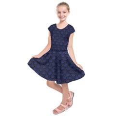 Scales2 Black Marble & Blue Leather (r) Kids  Short Sleeve Dress by trendistuff