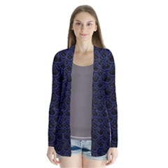 Scales2 Black Marble & Blue Leather Drape Collar Cardigan by trendistuff