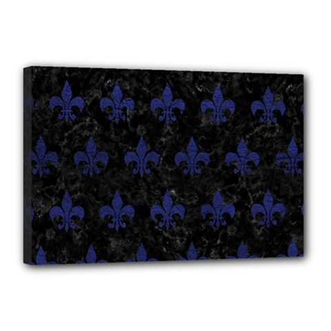 Royal1 Black Marble & Blue Leather (r) Canvas 18  X 12  (stretched) by trendistuff