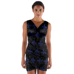 Royal1 Black Marble & Blue Leather (r) Wrap Front Bodycon Dress by trendistuff