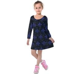 Royal1 Black Marble & Blue Leather (r) Kids  Long Sleeve Velvet Dress by trendistuff
