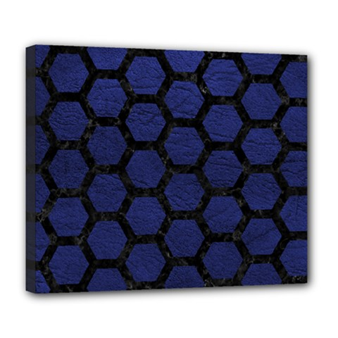 Hexagon2 Black Marble & Blue Leather (r) Deluxe Canvas 24  X 20  (stretched) by trendistuff