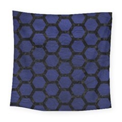 Hexagon2 Black Marble & Blue Leather (r) Square Tapestry (large) by trendistuff