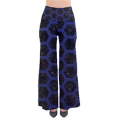 Hexagon2 Black Marble & Blue Leather So Vintage Palazzo Pants by trendistuff