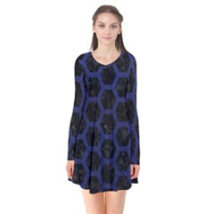 Hexagon2 Black Marble & Blue Leather Long Sleeve V Neck Flare Dress by trendistuff