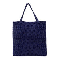 Hexagon1 Black Marble & Blue Leather (r) Grocery Tote Bag by trendistuff