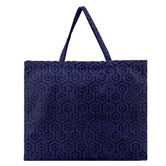 Hexagon1 Black Marble & Blue Leather (r) Zipper Large Tote Bag by trendistuff