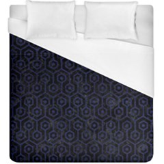 Hexagon1 Black Marble & Blue Leather Duvet Cover (king Size) by trendistuff