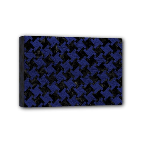 Houndstooth2 Black Marble & Blue Leather Mini Canvas 6  X 4  (stretched) by trendistuff